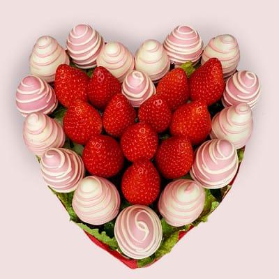 Pink Strawberries Heart